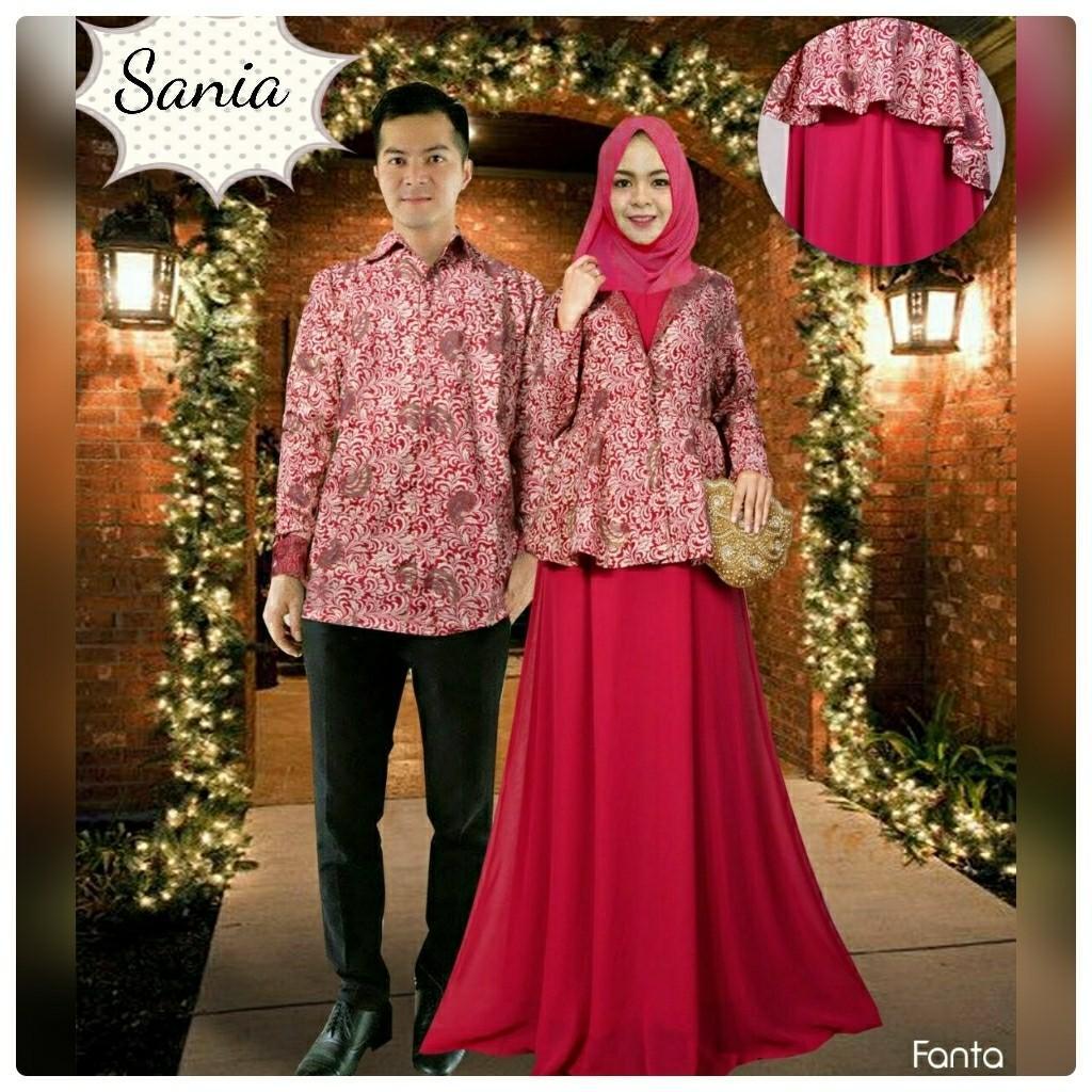 Baju Pesta Mewah Couple Sania Pink Fanta Busana Muslim Pasangan Nia TM