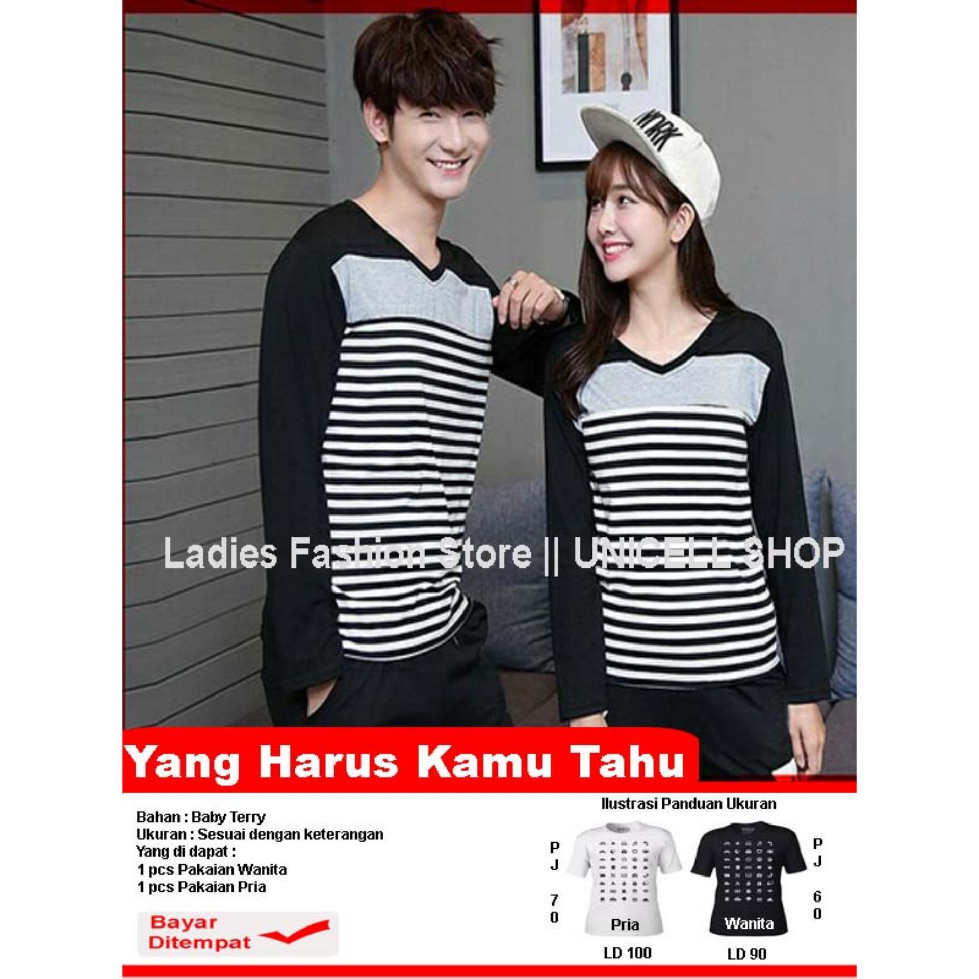Baju Wanita Shop Kaos Couple lengan Panjang  VStripe / Kaos Couple lengan Panjang Pria  / Sweater Pasangan / T-shirt Pasangan / Pakaian Kembar / Kaos Pria Wanita LC - Hitam - A0126
