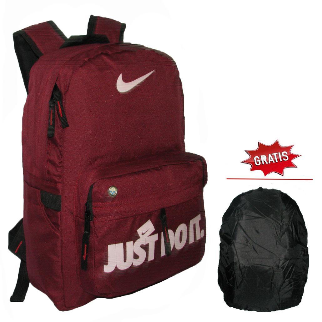 Backpack Simpel Casual Just Do It dengan Raincover - Merah