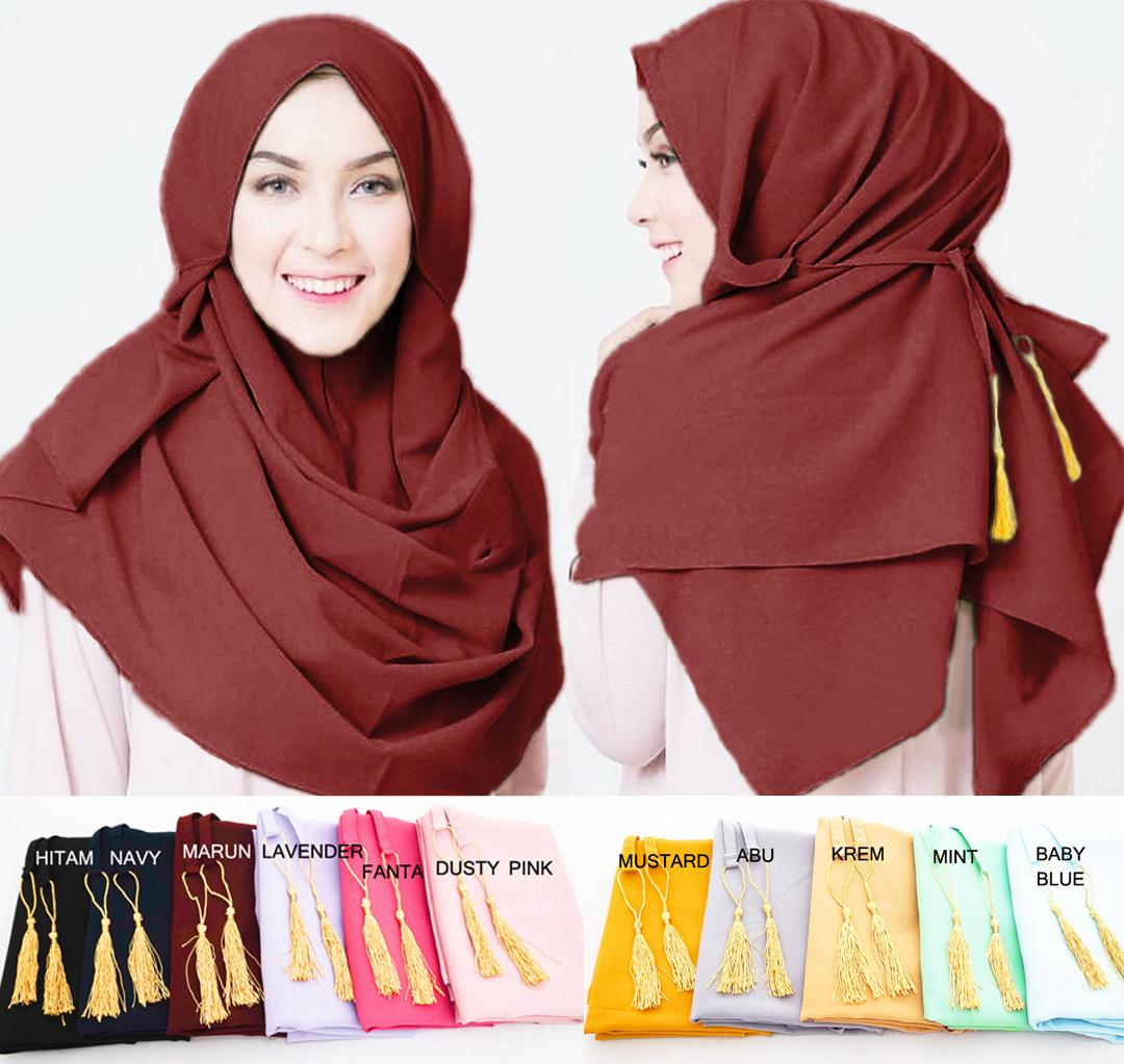 Pashmina Instan Almira - Jilbab Instan Kerudung Berkualitas - Pastan Amira - Hijab Khimar Instan Tassel