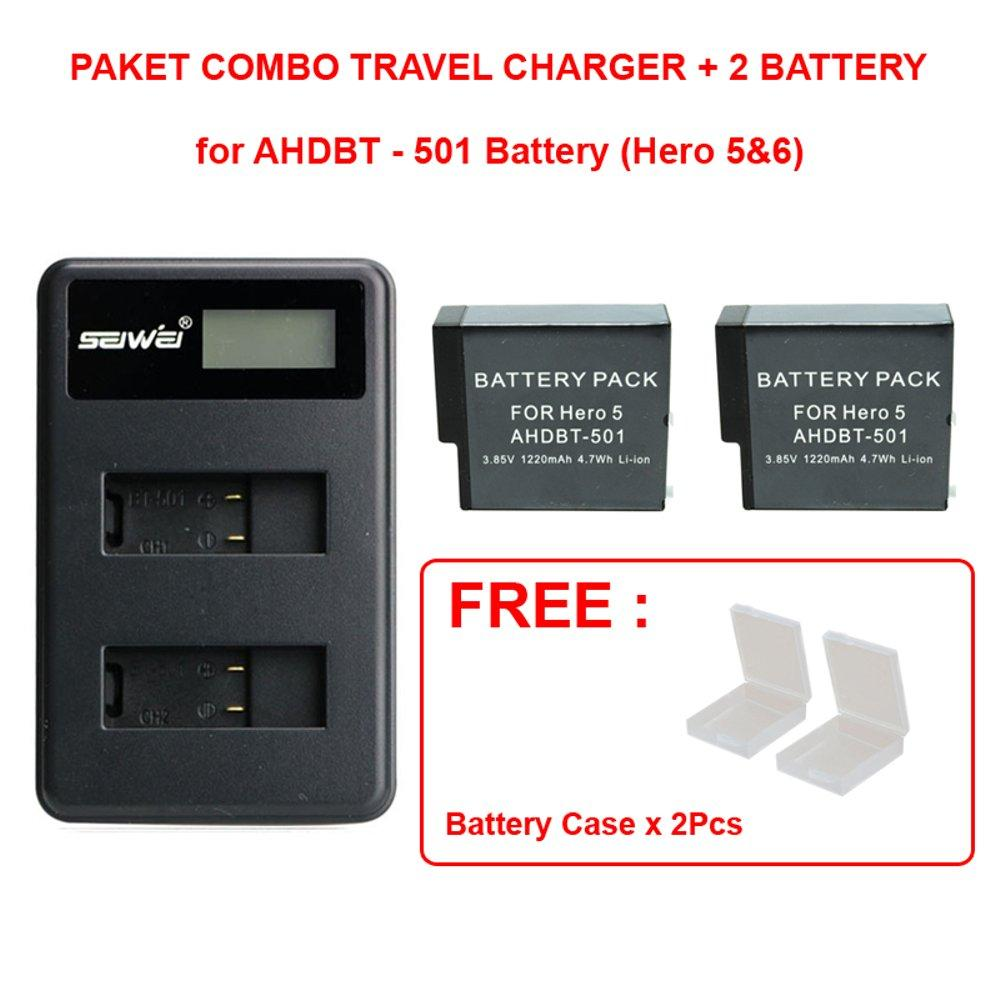 Rajawali Travel Charger & 2Battery AHDBT-501 for Gopro Hero 5 & Hero 6