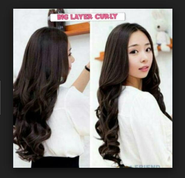 Hair Clip Big Layer 60 cm Curly / hairclip 60cm keriting