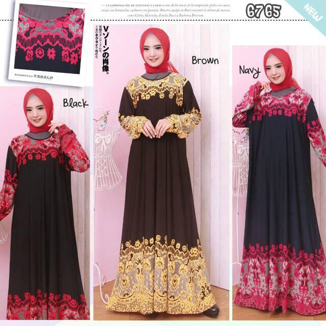 PROMO GAMIS MURAH! Baju Gamis Wanita Gamis Jersey Korea XXL - 4L 6765/6767 BLACK XXL