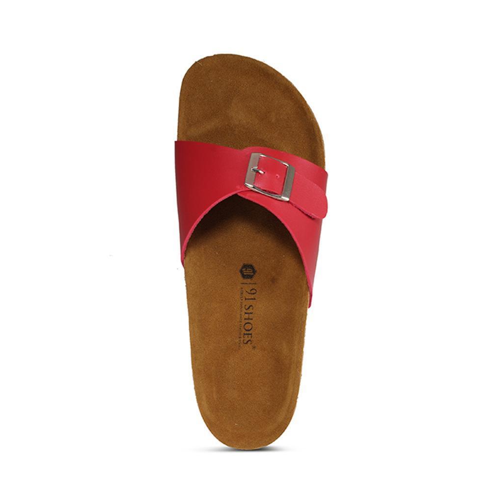 Promo Sandal Pria Dan Wanita 91 Shoes Model Birkenstock Sendal Unisex Gesper 1 Merah Fashion