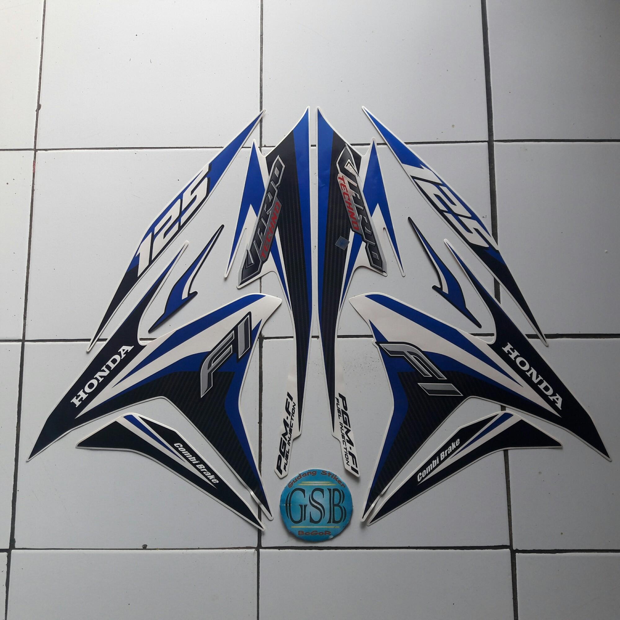Stiker striping motor honda vario techno 125 2014 putih biru