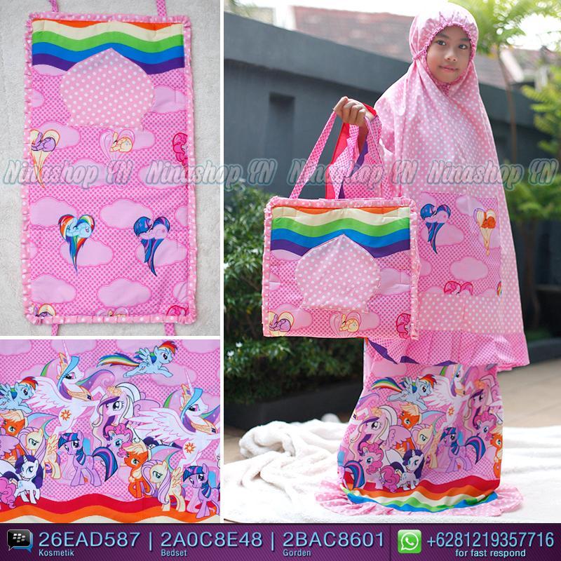 Jual Mukena anak motif Little Pony Pink Doty Pink