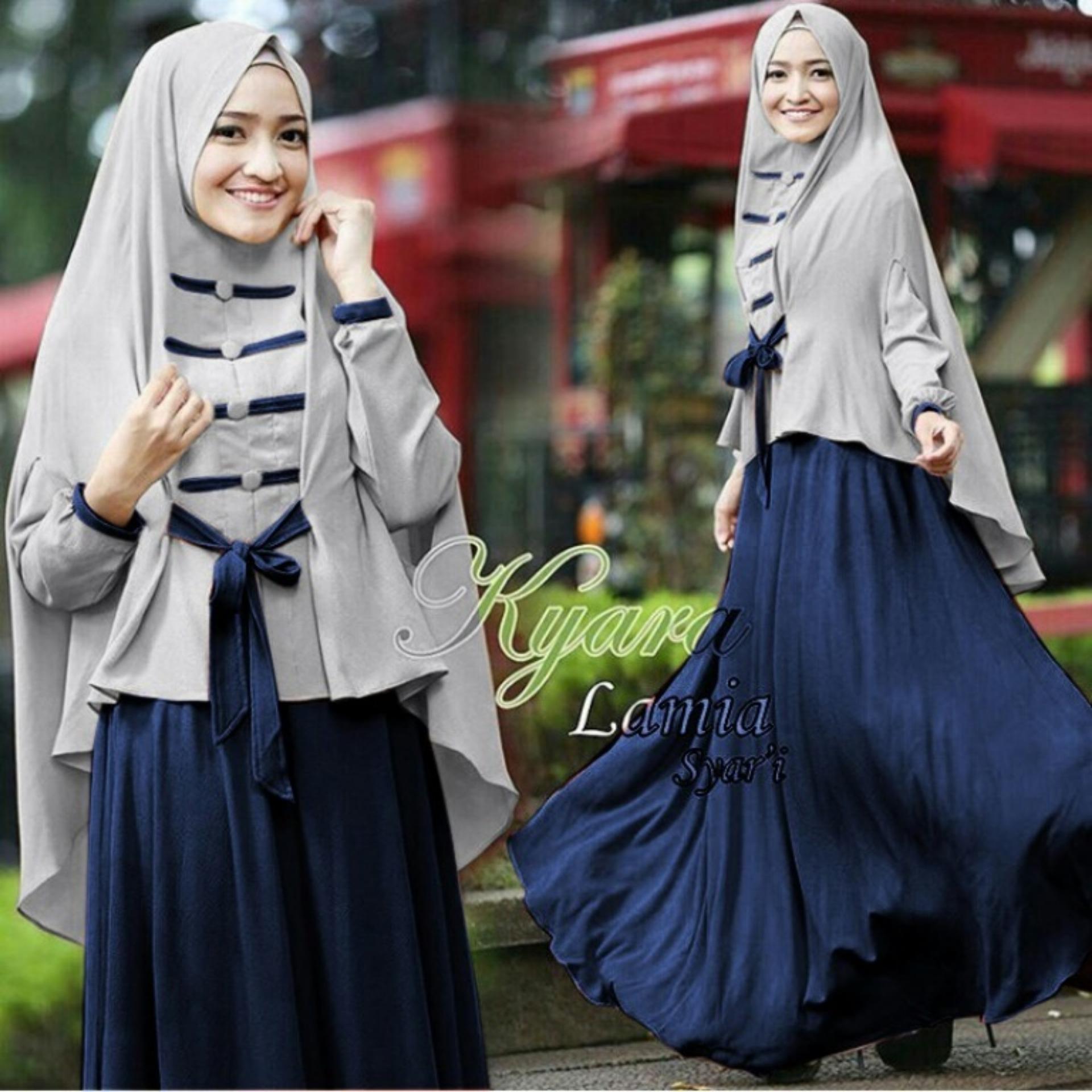 Damia Dress Gamis Muslim Wanita Dress Jumpsuit lebaran Muslimin 1 Set Kerudung