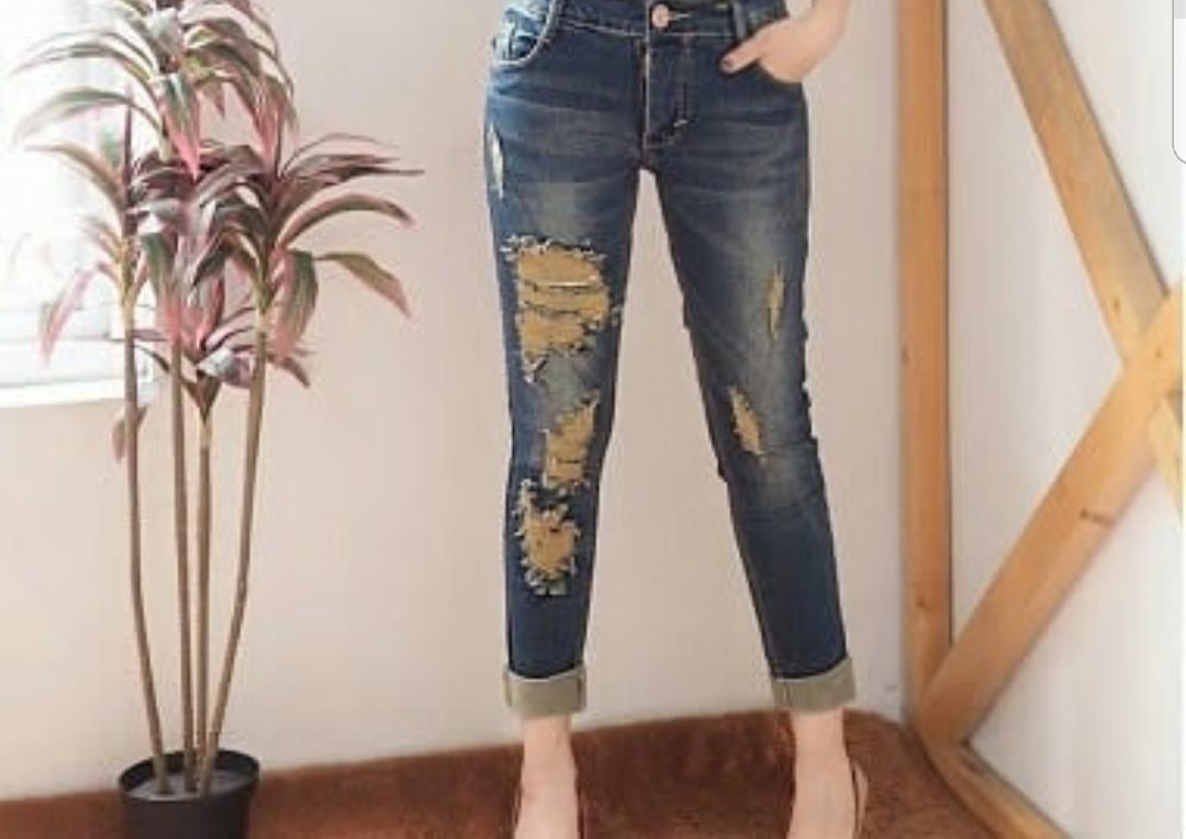 ADB - Jeans wanita 7/9 - Mercy Tinta Green - sobek stik balik