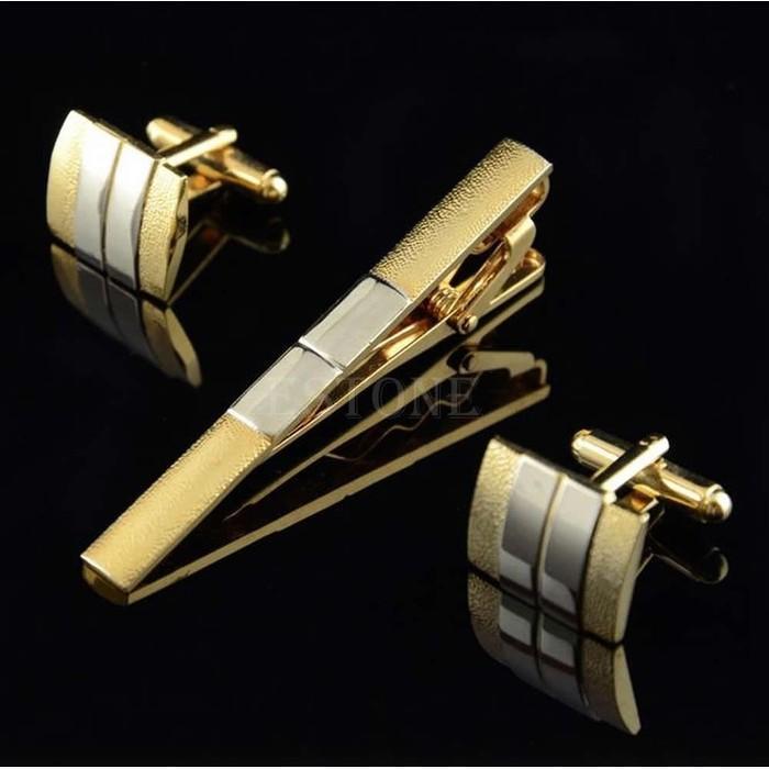 Set Cufflink Tie Bar / Manset Penjepit Jepit Dasi / Tie Clips Import - Vv7gfw