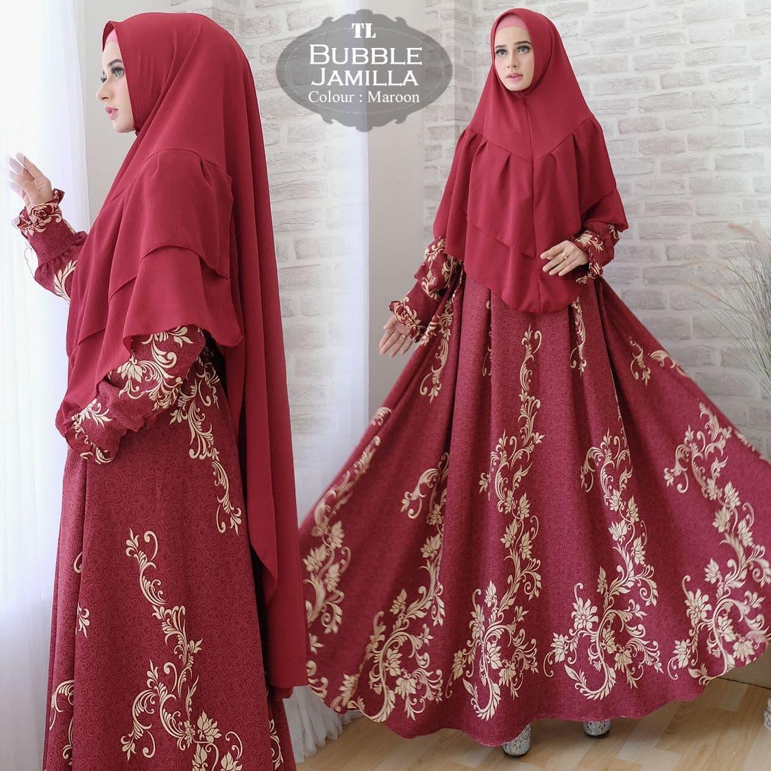 Syari Bubble Jamilla Maron TL gamis muslim wanita bubble maroon