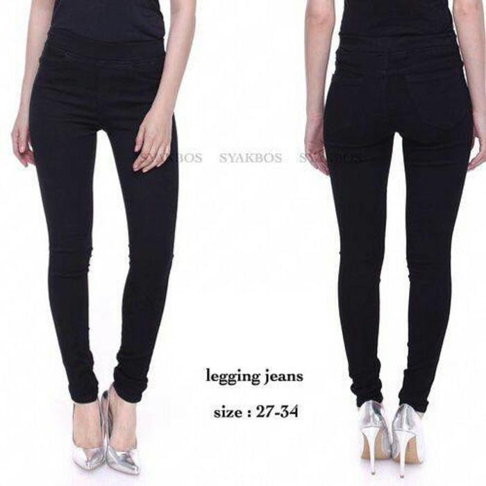 Celana jeans untuk wanita bahan denim model slimfit ready warna hitam & biru size 27-34