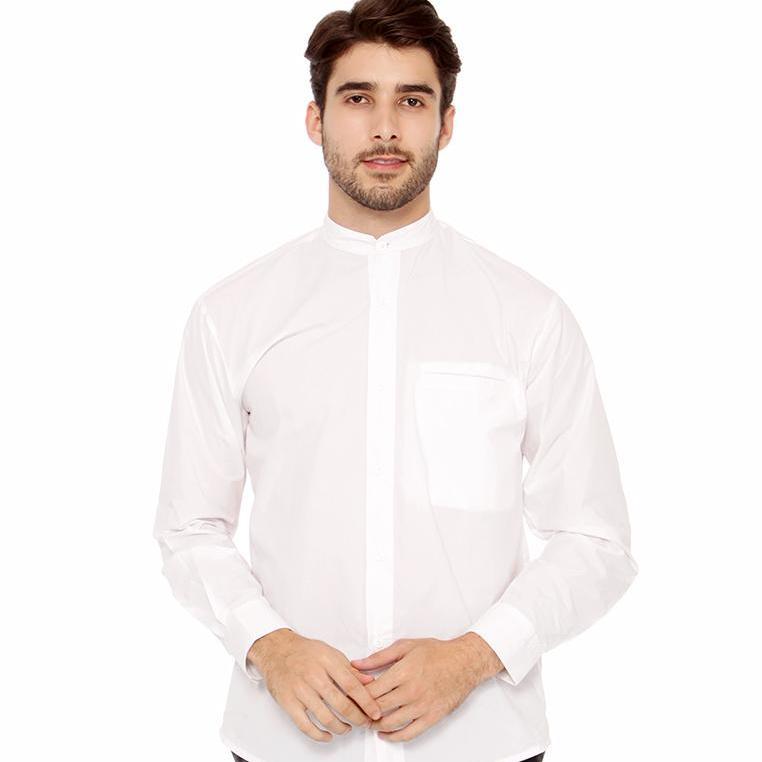 Baju Koko Kemeja Muslim Koko Pria Kemeja Pria Casual Simple Putih