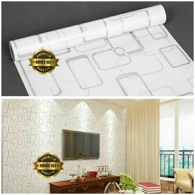 Wallpaper Dinding Murah Ruangan Tamu Kamar Kotak Hitam Putih Minimalis Terbagus Elegan .