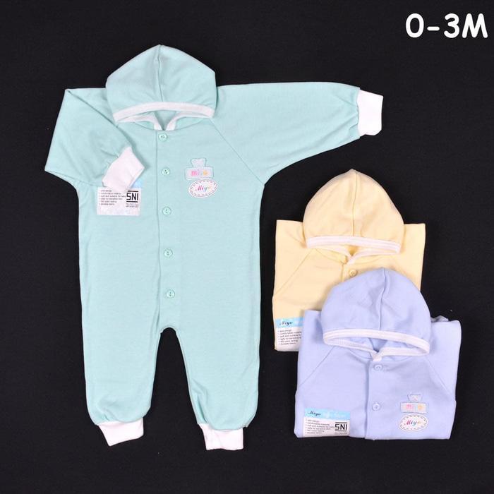 MIYO Baju Kodok Panjang Topi Buka Kaki Bayi/Baby Warna Newborn (0-3M)