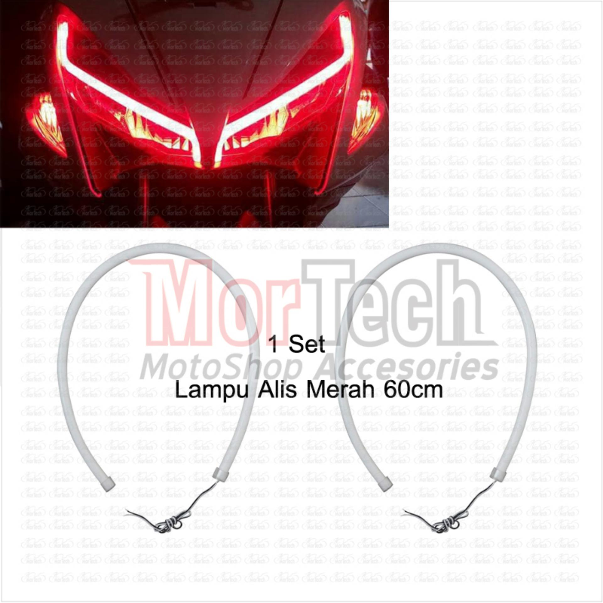 DRL Lampu LED Alis Flexible Fleksibel 60 cm X Ride Merah