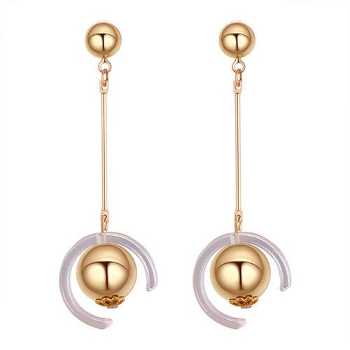 LRC Anting Tusuk Fashion Gold Color Ball Shape Decorated Earrings