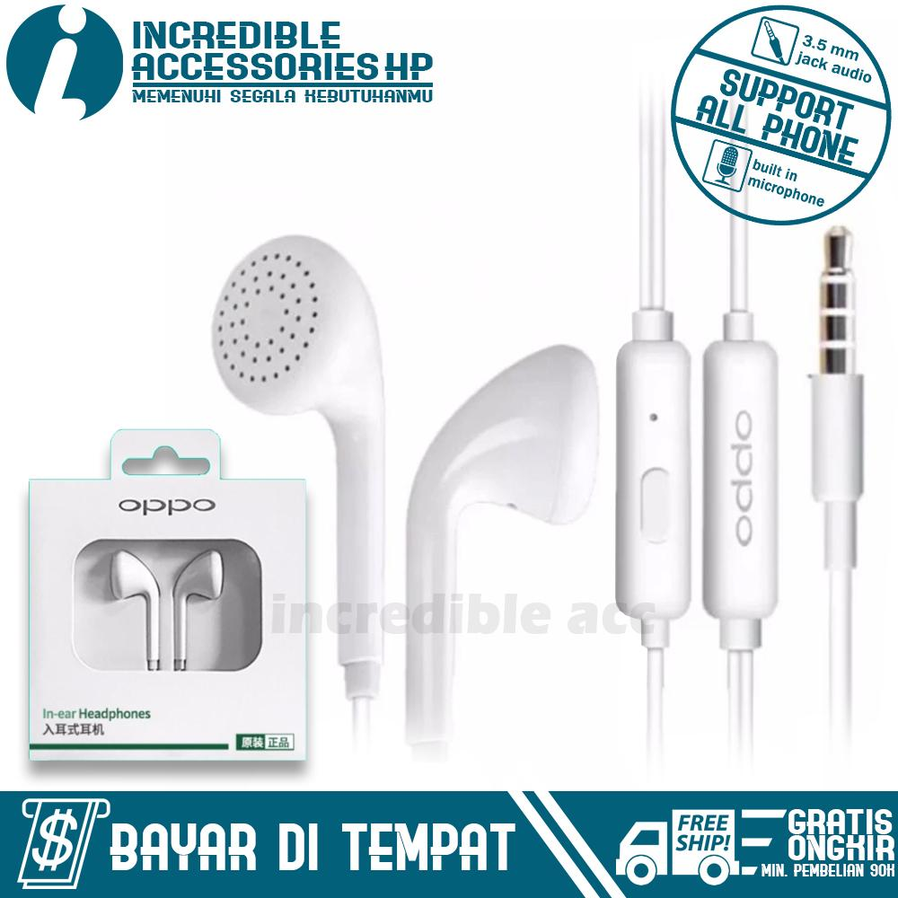 Headset Type OPPO MH133  Untuk Samsung/Xiaomi/OPPO/VIVO/Apple/Sony/Huawei/ASUS/ Dan Semua Merk HP Dengan Jack Audio 3.5mm In-Ear Music Earphone - Putih