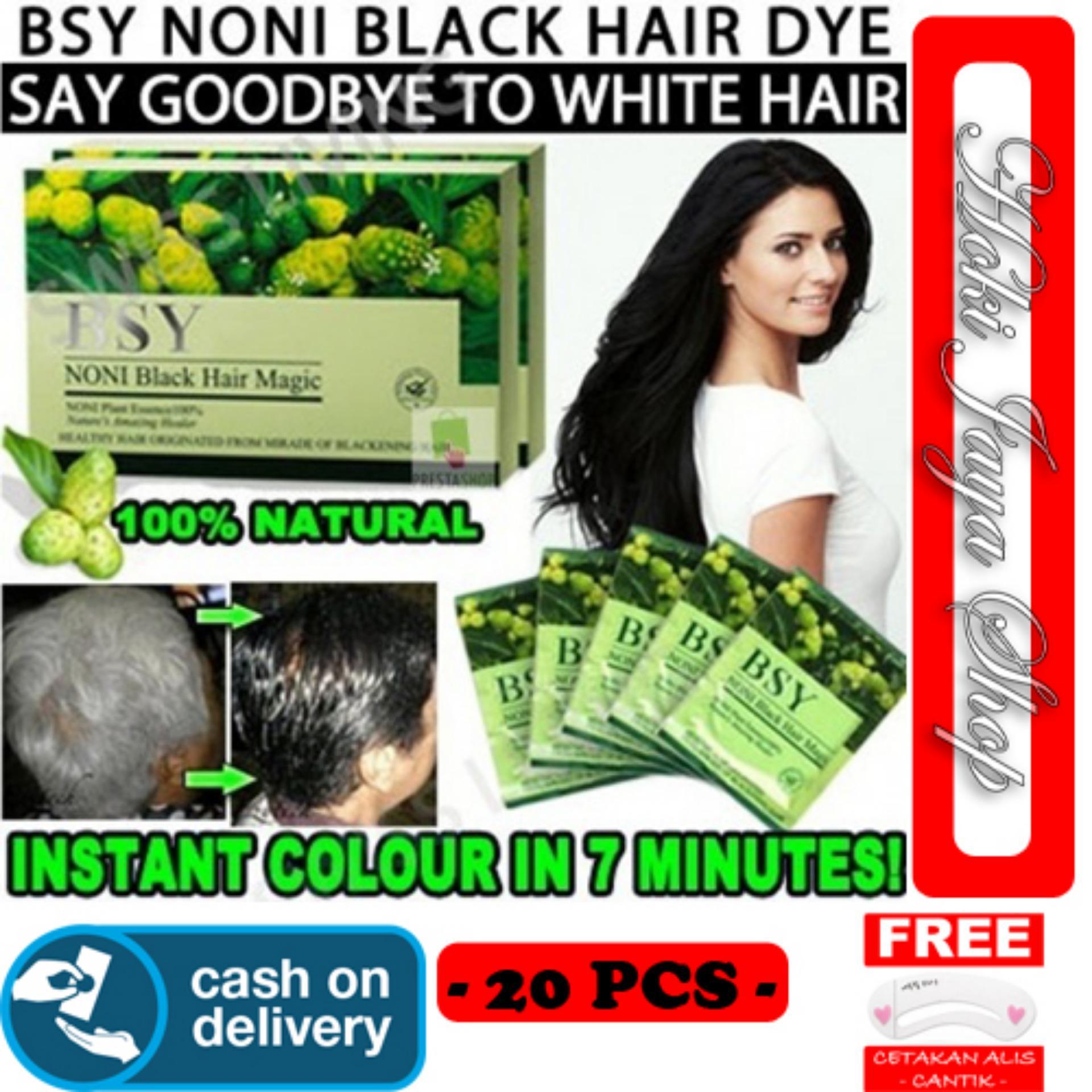 HOKI COD - BSY Noni Black Hair Magic Shampo - Cat Rambut Hitam - Penghitam Rambut - 20 PCS + Gratis Cetak Alis Cantik - Premium