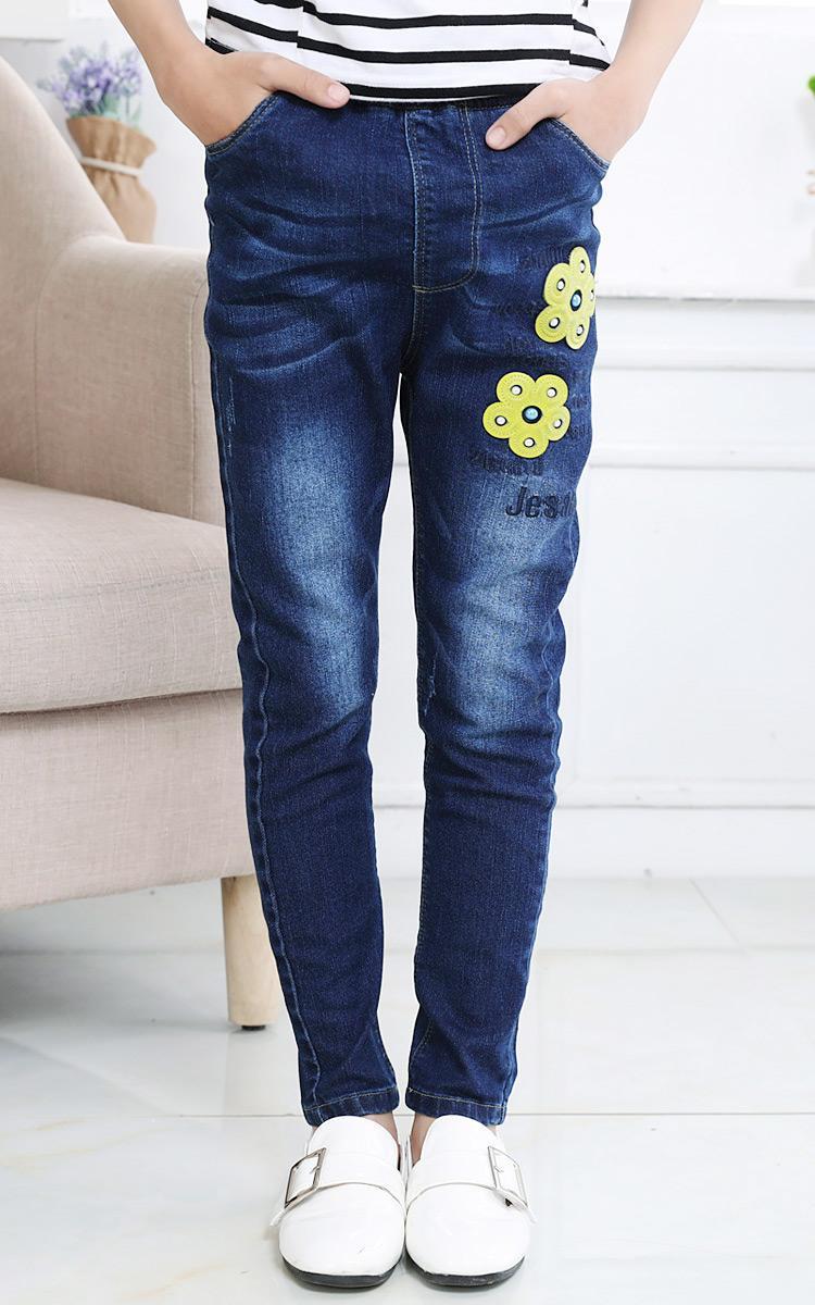 Longgar Celana Panjang Anda Children Gadis Denim Celana (Biru + Herbalife Menambah Ukuran Versi)