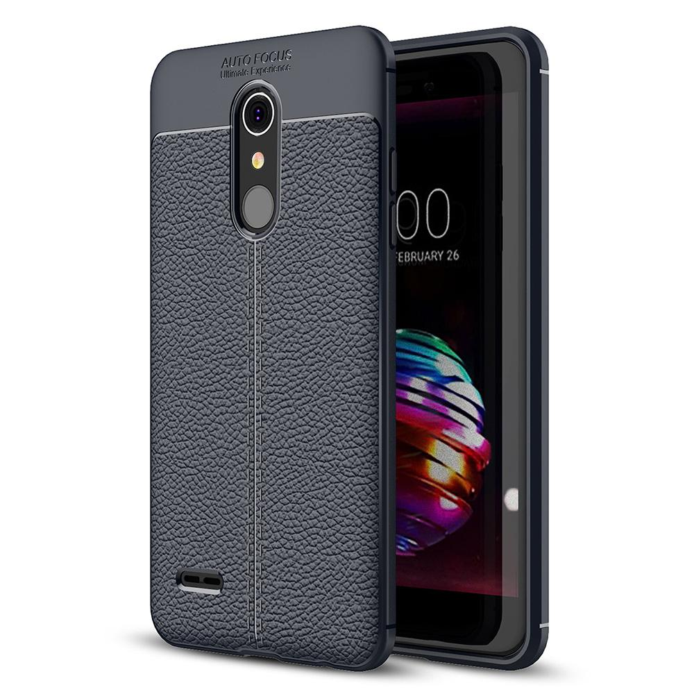 LG K10 2018 Kasus, RUILEAN Litchi Skin Anti-slip Resilient TPU Armor Ultimate Protection Case Cover for LG K10 2018 (As Shown)