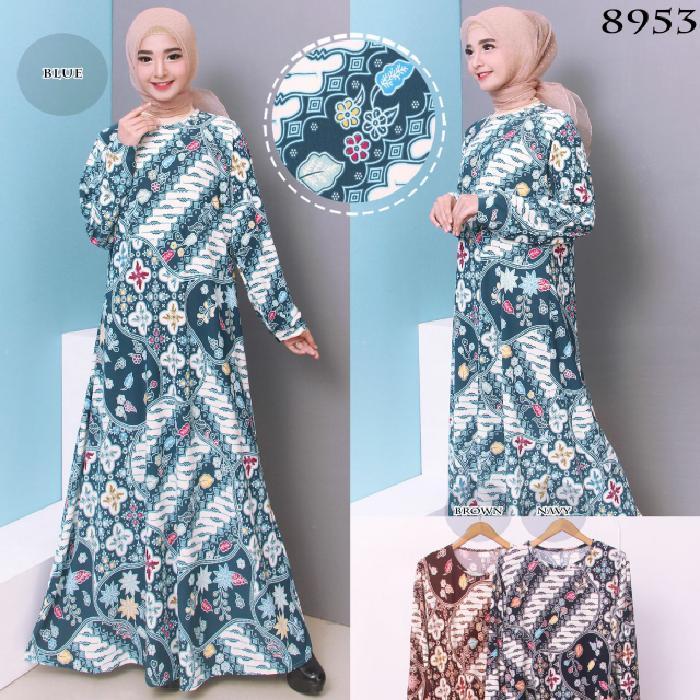 Kenzmal- Maxi Gamis Dress Baju Muslim Wanita Gamis Good Quality Gamis Batik Wanita Jumbo Jersey Korea 4L 8953