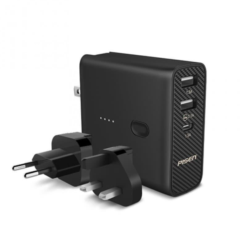PISEN POWERBANK 5000 Mah International Travel Charger Adapter AC5000