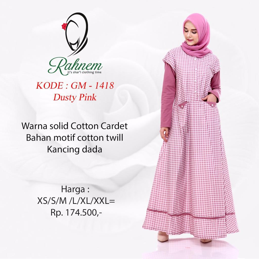 diskon gamis muslim rahnem GM 1418 - dress muslim dongker xl