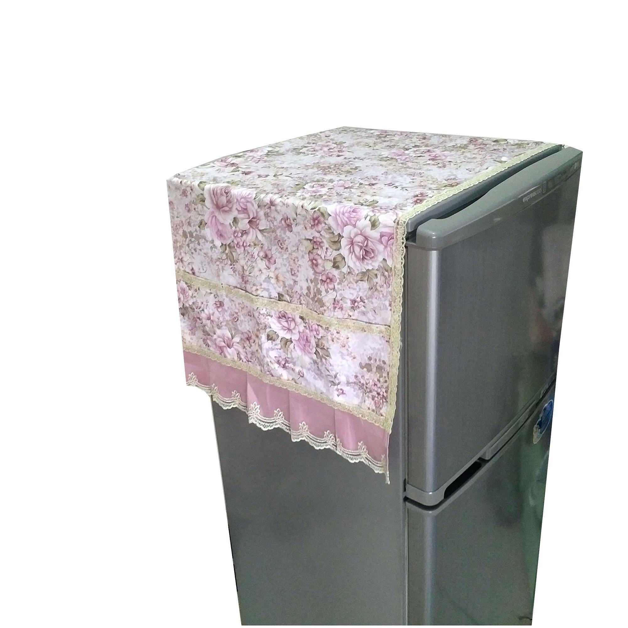 Tren-D-home - Fridge Cover / Tutup Kulkas 130 cm x 55 cm - Pink QS02