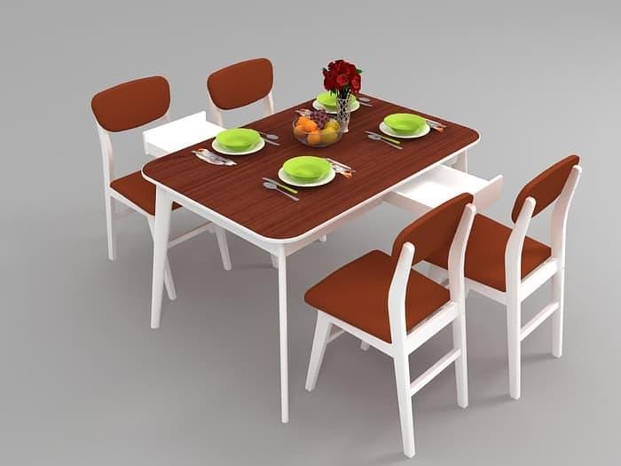 FUNKIDS Meja Makan SIGNA-Dixi Modern Minimalis & 4 Kursi Makan