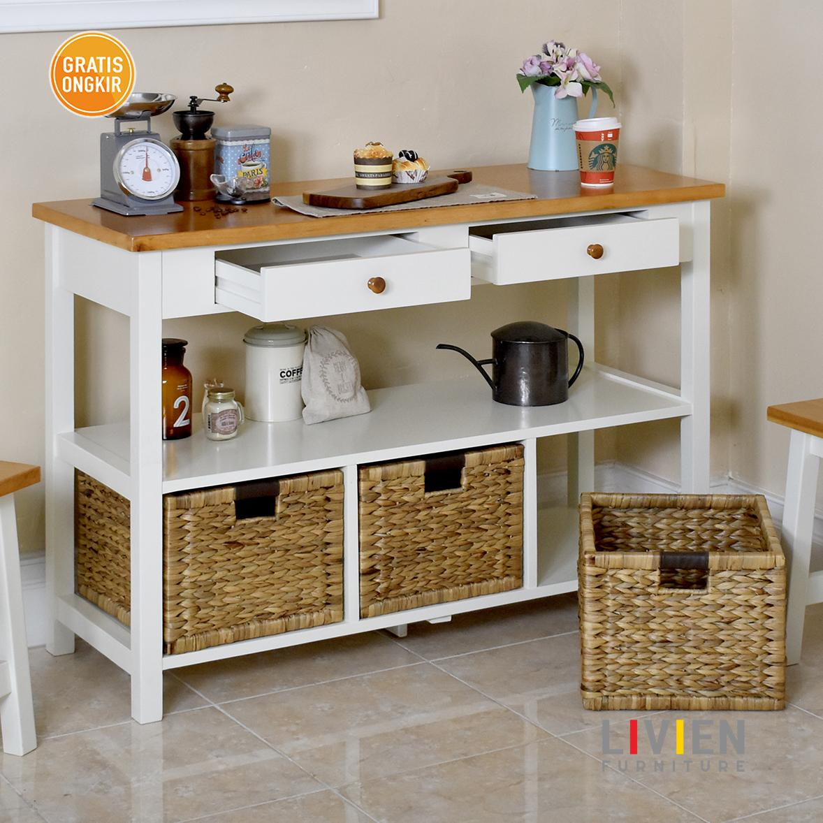 Fitur Livien Furniture Storage Bench Maple Story Multifungsi Desktop Keranjang Meja Konsol Dapur