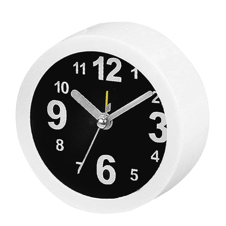 Classic jam Alarm meja bulat kecil Desktop jam kantor gaya sederhana rumah dekorasi putih + Hitam - International