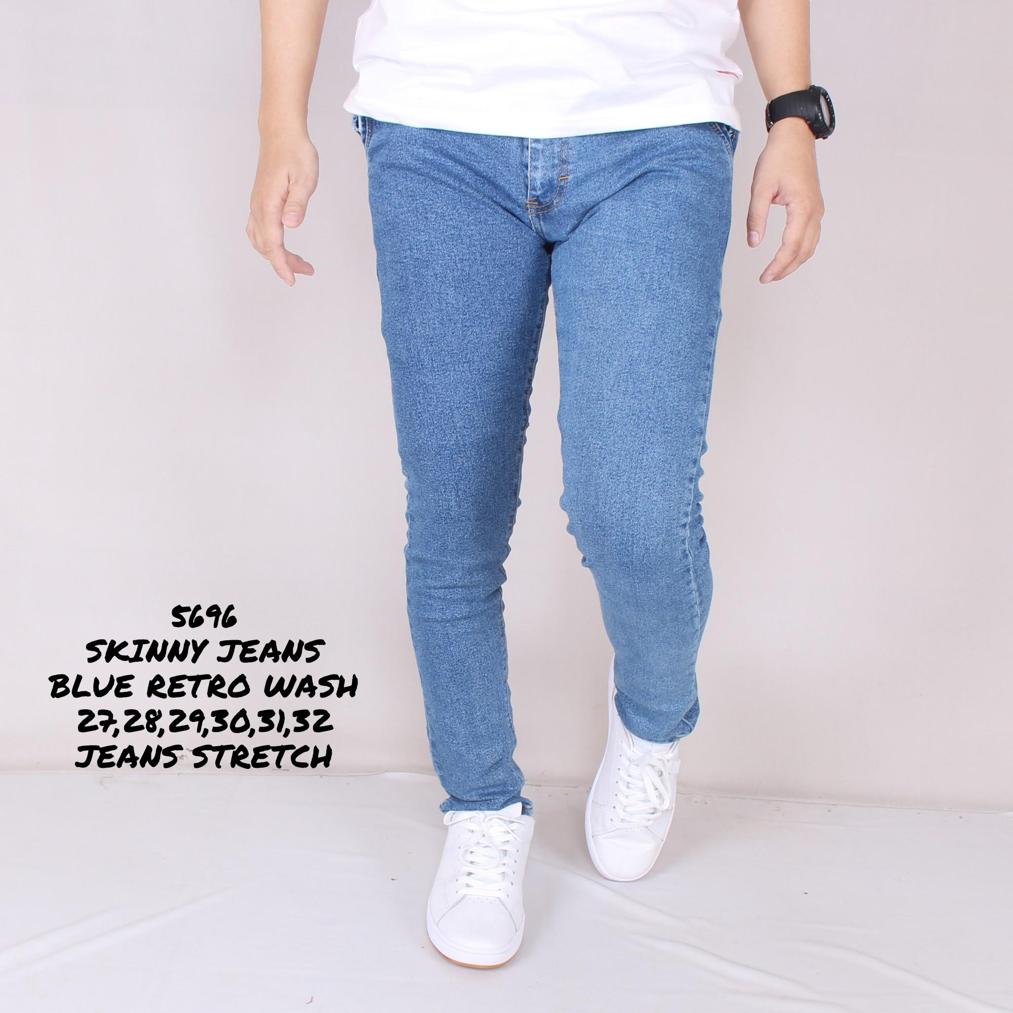 Zoeystore 5696 Celena Jeans Panjang Pria Celana Jeans Skinny Cowok Washing Signal Blue Celana Jeans Slimfit Denim STRETCH
