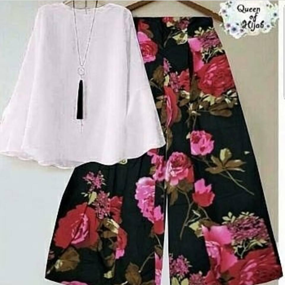 Baju Setelan Kulot Celana Hitam Flowers Pink