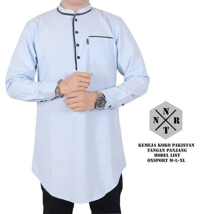 gamis koko pakistan lengan panjang biru navy - Biru Muda, M/Baju Muslim/Baju Koko /Baju Kemeja Muslim/Baju Gamis Pria/Baju Kemeja Koko
