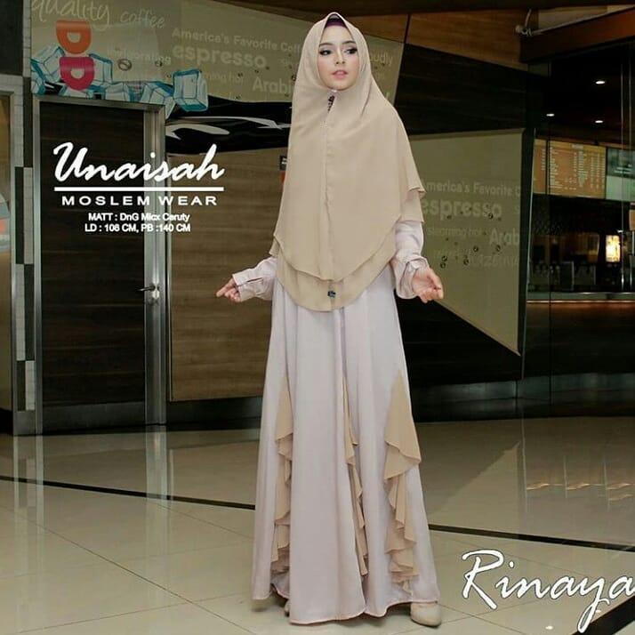 Baju Original Gamis Rinaya Syari Dress Baju Panjang Muslim Dress+Khimar Casual Wanita Pakaian Hijab Modern Modis Terbaru