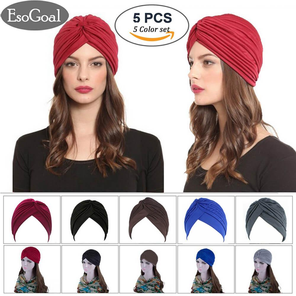 EsoGoal 5 Pack Twisted Pleated Stretchable Polyester Head Wrap Knit Bonnet Turban Hat Hair Wrap Cover Up Sun Cap (Available in 5 colors)