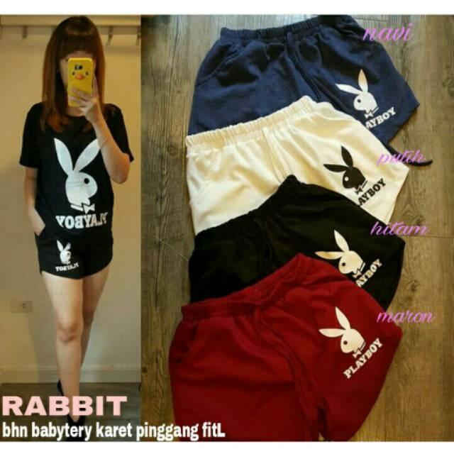 RX Fashion Hotpant Rabbit - Bahan Babytery Karet Pinggang Fit L