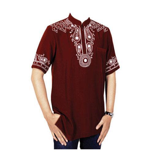 Baju muslim koko pria terbaru, motif bordir, warna merah marun