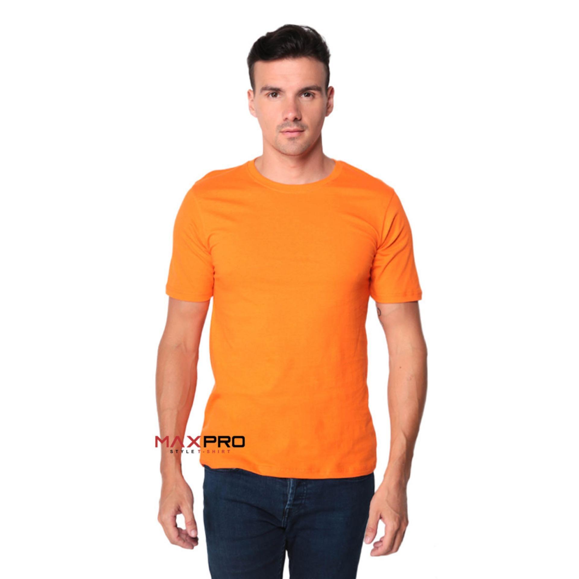 MaXPro Kaos Polos Pria Orange - T-Shirt Distro Cowok Tumblr Tee / Kaos Oblong / Kaos Distro / Kaos Couple / Baju Kaos Atasan Pria Oren