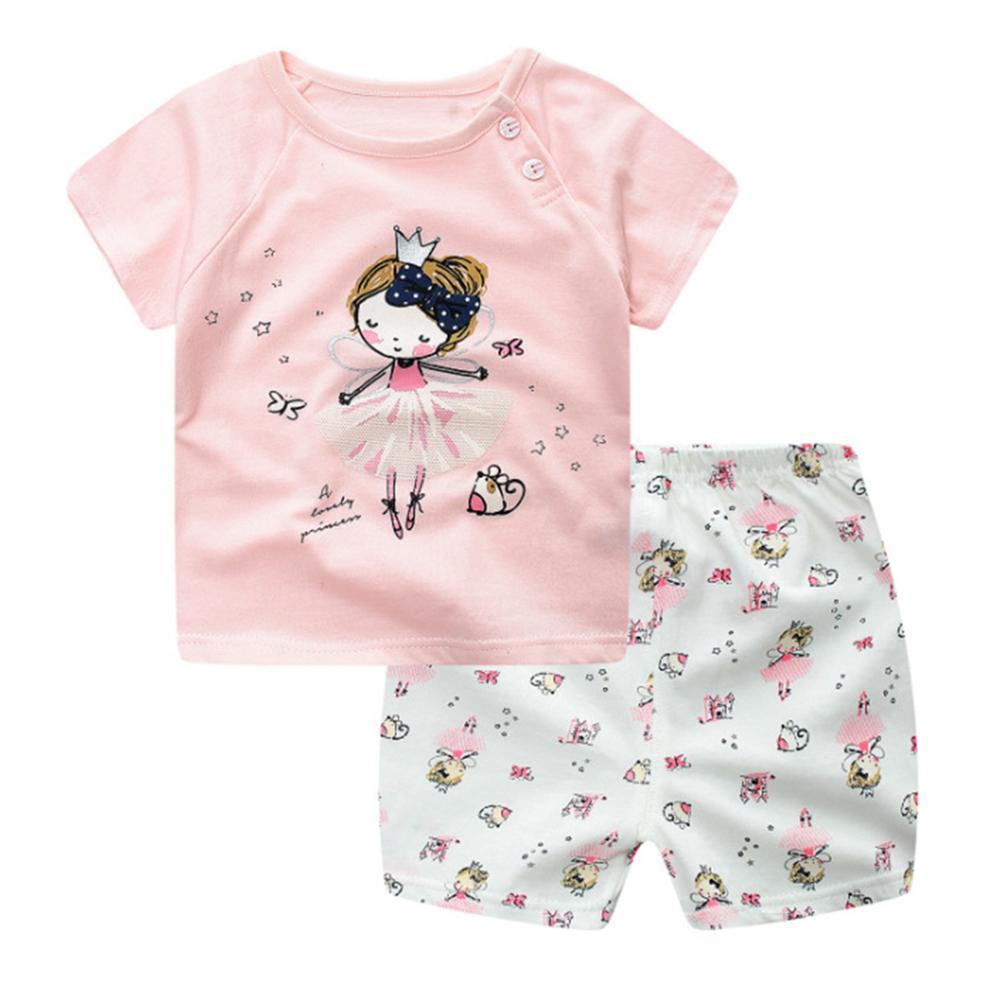 Bayi Anak-anak Pakaian Set Kaus + Celana Pendek 2 Pcs/set