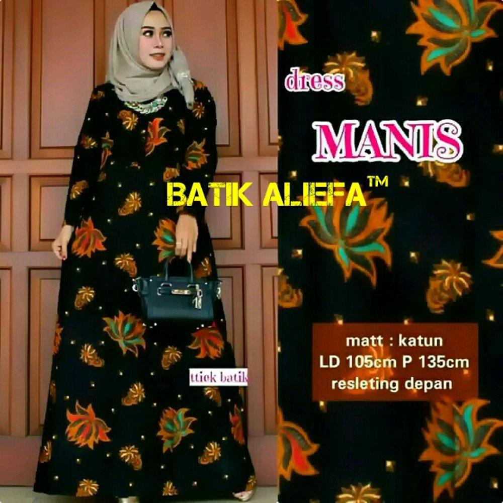 Gamis Longdres Batik Syari Hitam Manis Fashion Pekalongan Indonesia di lapak Batik Aliefa Pekalongan aliefa99
