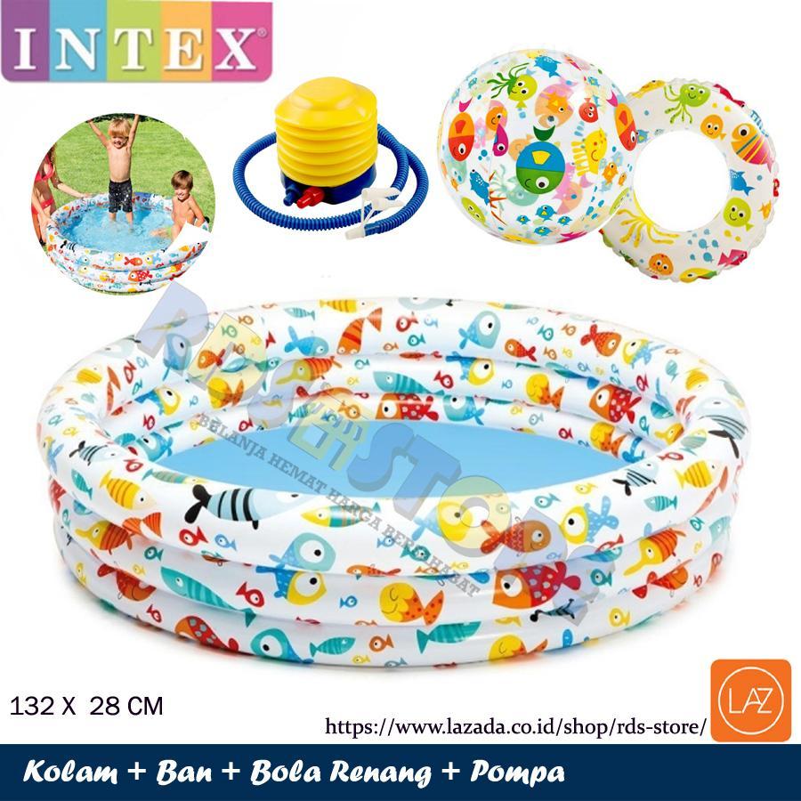 Intex Kolam Renang Anak Fish Bowl Set Bola Pelampung Pompa - 132 cm x 28 cm