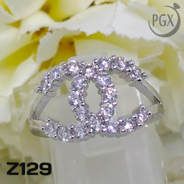 Z129 Cincin Chanel Berlian Mewah (Perhiasan Imitasi Xuping Lapis Emas)