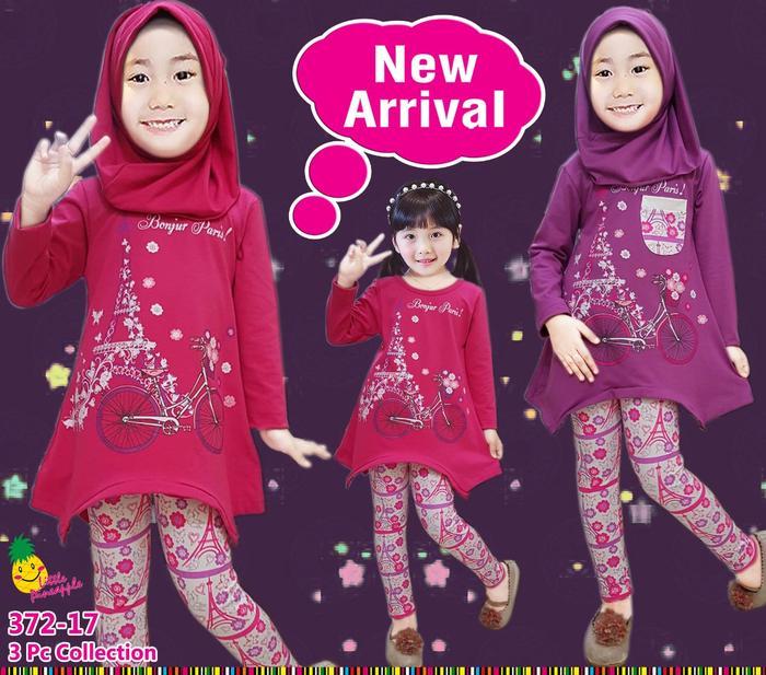 New  Baju Muslim Anak Perempuan Little Pineapple LP Bonjour Paris Legging