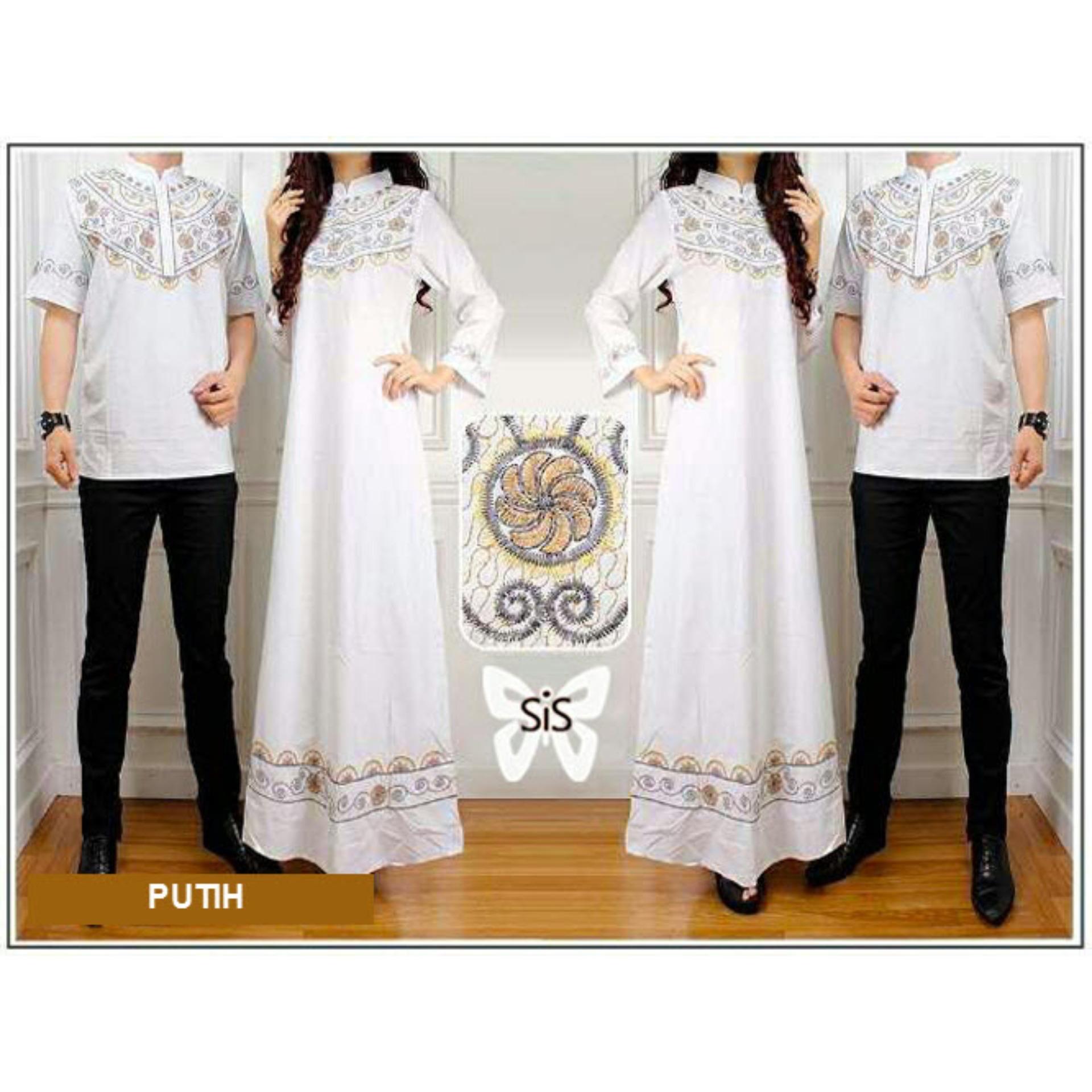 Sera Outfit Baju Muslim Couple MSR083 / Sarimbit / Batik Pasangan / Sepasang Busana Syar'i / Kemeja Koko Pria Gaun Muslimah Gamis Syari Wanita / Srelegant