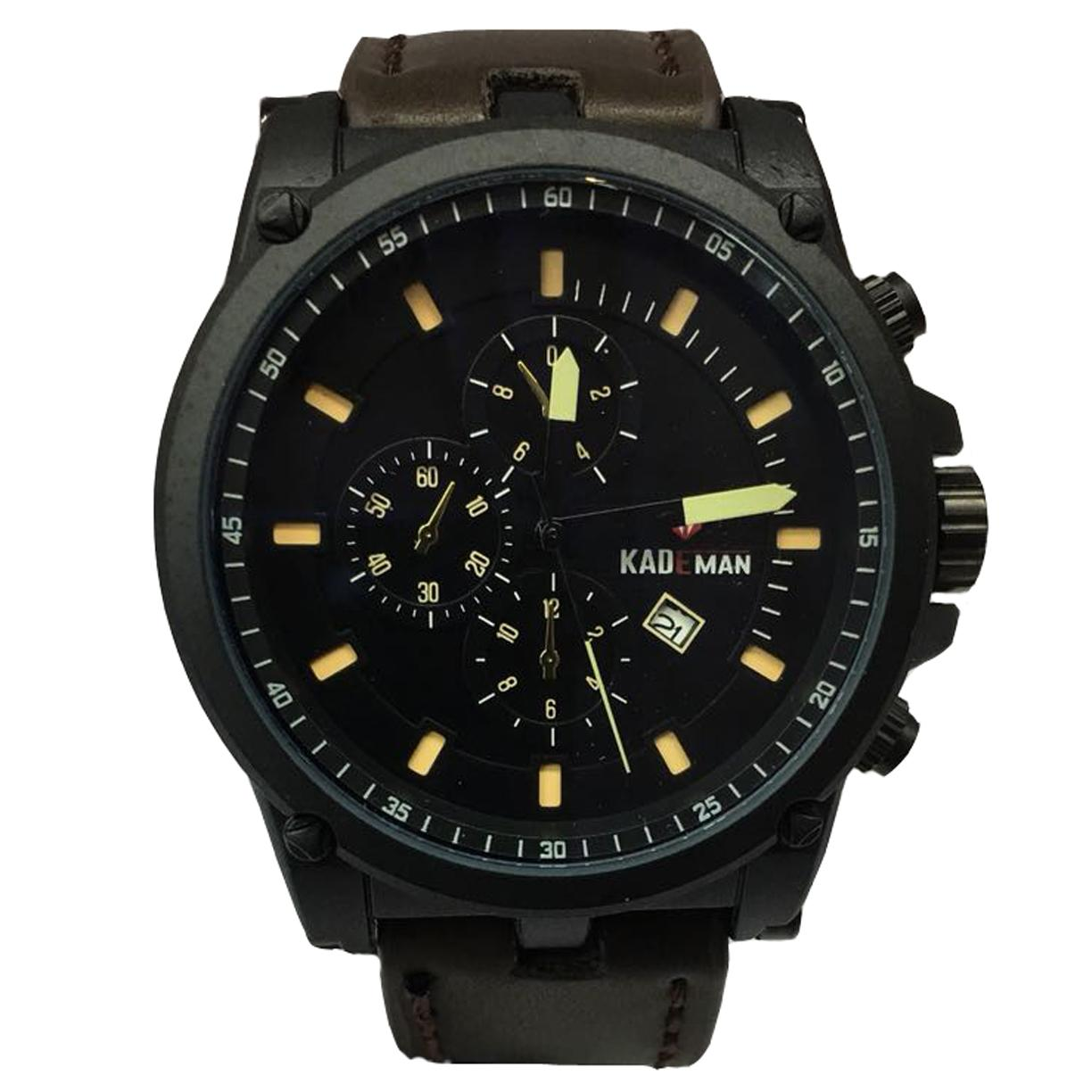 Kademan KD003K Jam Tangan Kasual Pria Murah Anti Air - Quartz - Chrono Off - Original - Tali Kulit