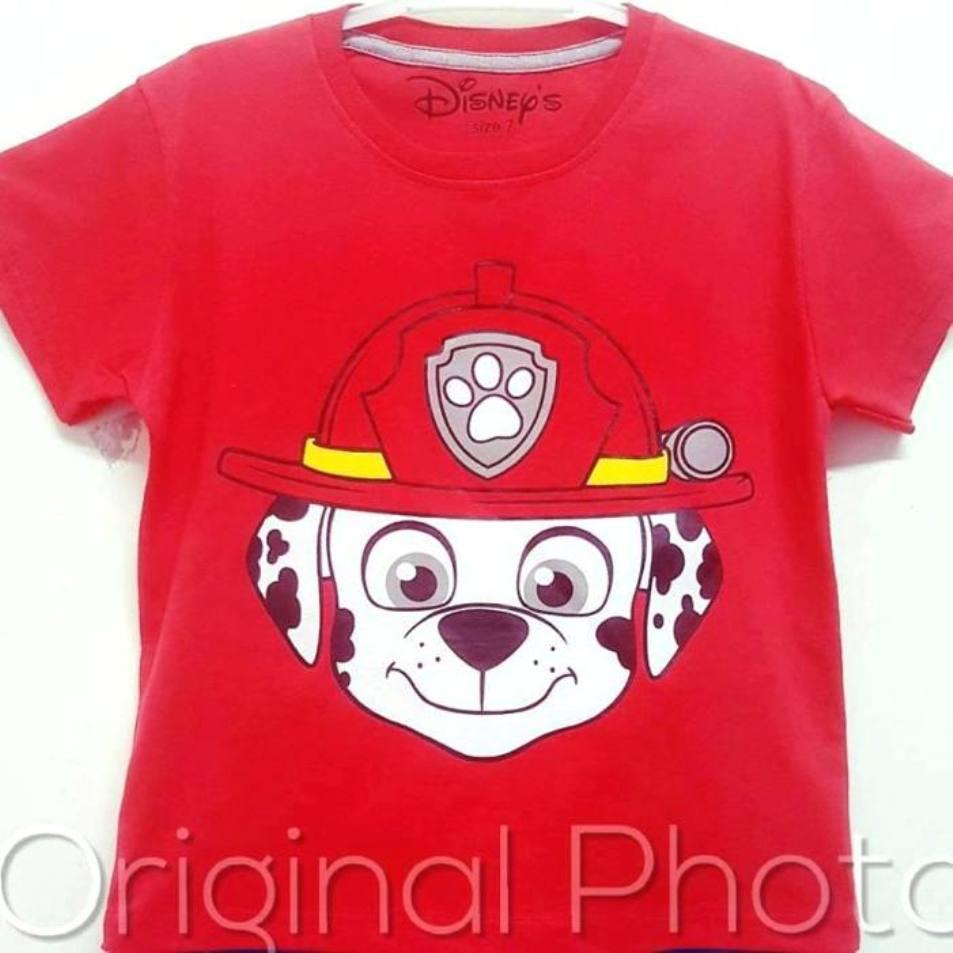 Kaos Anak Branded - Paw Patrol Merah - ukuran 1-6 Tahun - 1-6 tahun