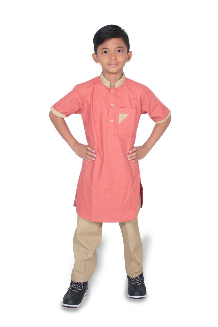 Setelan baju koko Anak pria lengan pendek- umur 1-12 tahun-Kode E01-orange muda