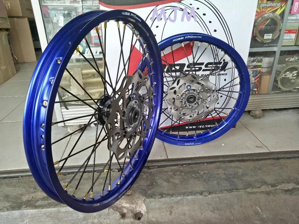 Sepaket Velg KLX Dtracker Ring 16-19 Atau 18-21 Satu Set Tromol Jari Bonus Rakit Setel Velg Dan Cak