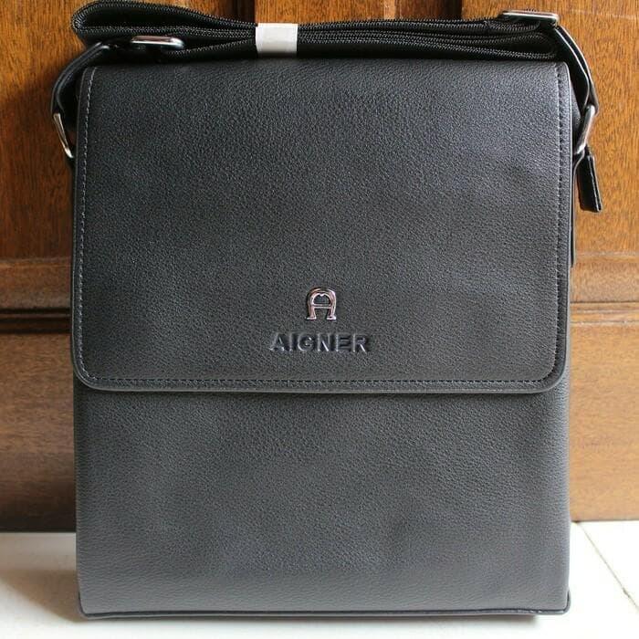 Tas Slempang Pria Branded Import AIGNER BLACK High Qual Limited